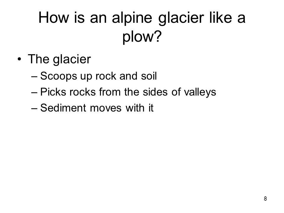 How is an alpine glacier like a plow