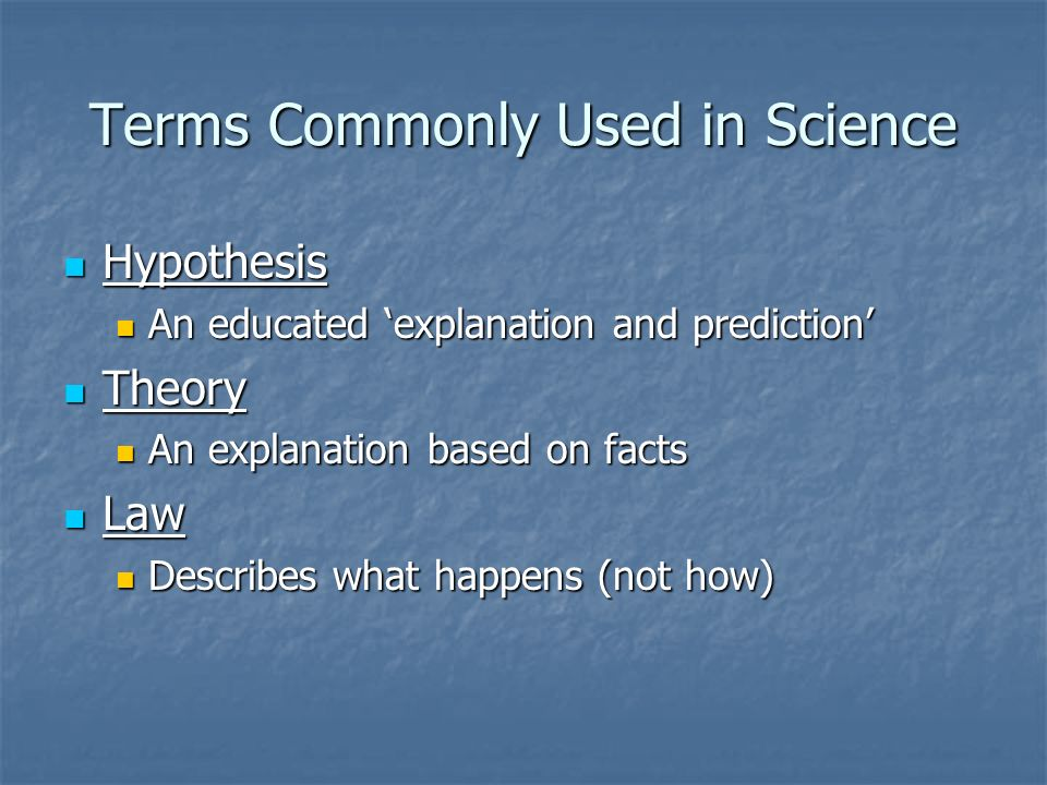 Terms Commonly Used in Science
