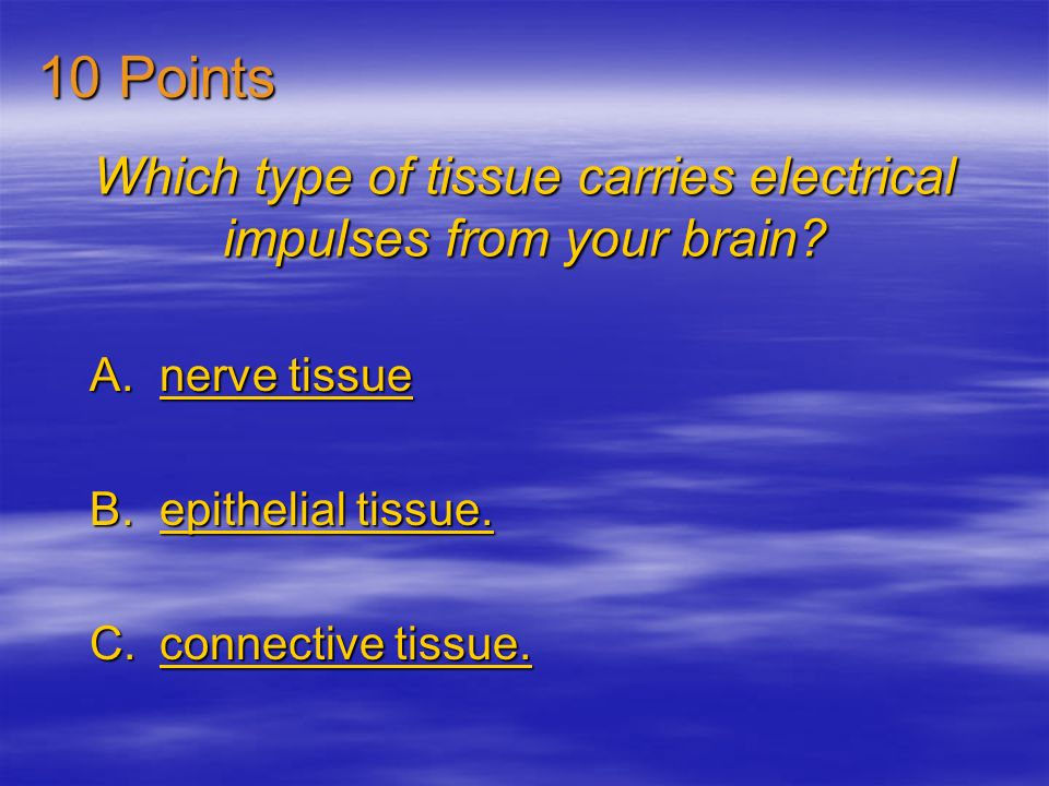 Which type of tissue carries electrical impulses from your brain