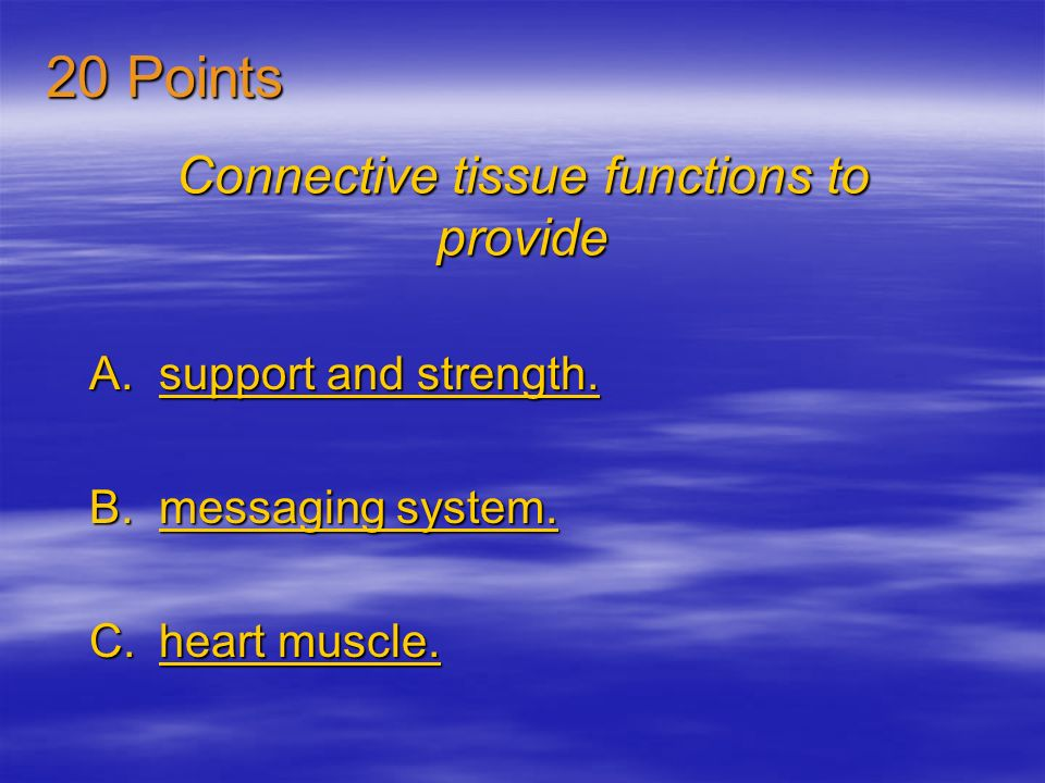 Connective tissue functions to provide