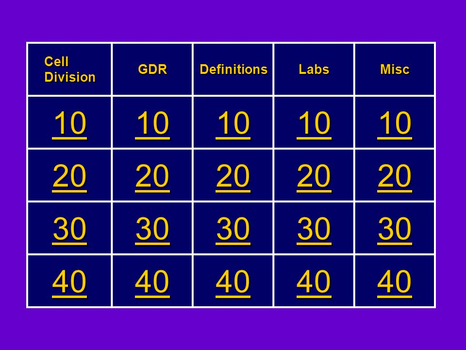 Cell Division GDR Definitions Labs Misc 10 20 30 40