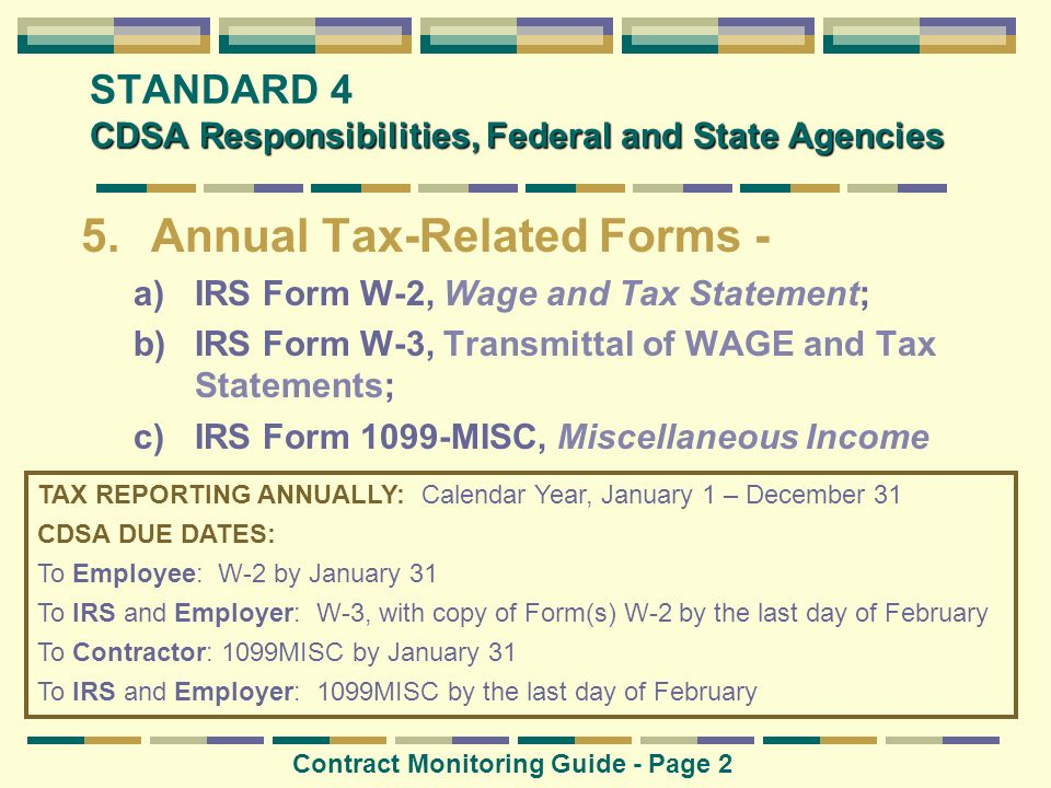 STANDARD 4 CDSA Responsibilities, Federal and State Agencies