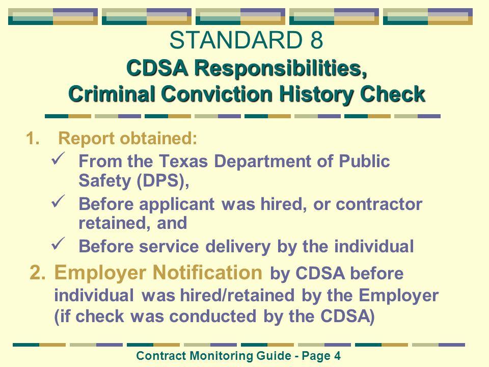 STANDARD 8 CDSA Responsibilities, Criminal Conviction History Check