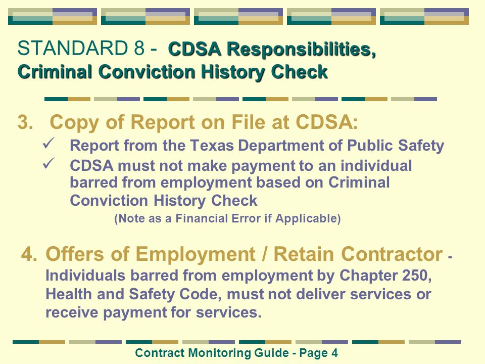 STANDARD 8 - CDSA Responsibilities, Criminal Conviction History Check