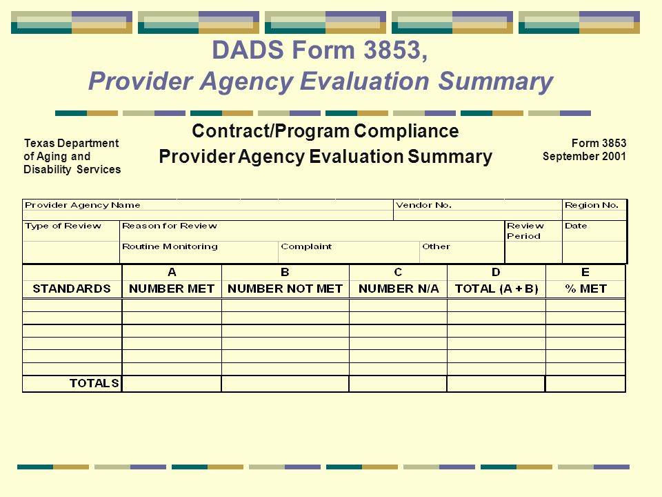 DADS Form 3853, Provider Agency Evaluation Summary