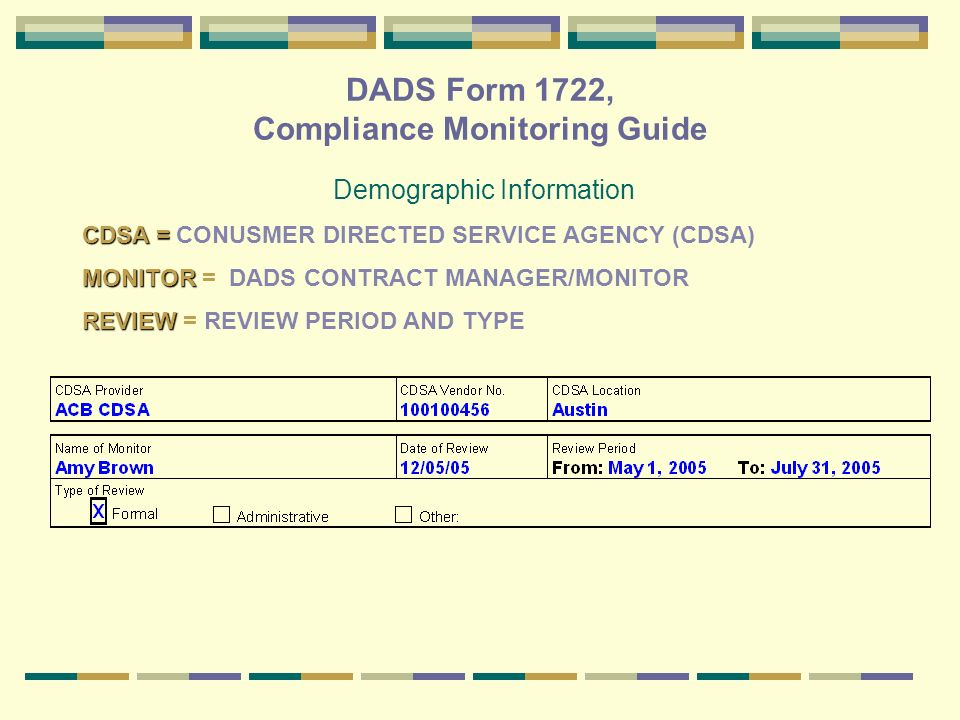 DADS Form 1722, Compliance Monitoring Guide