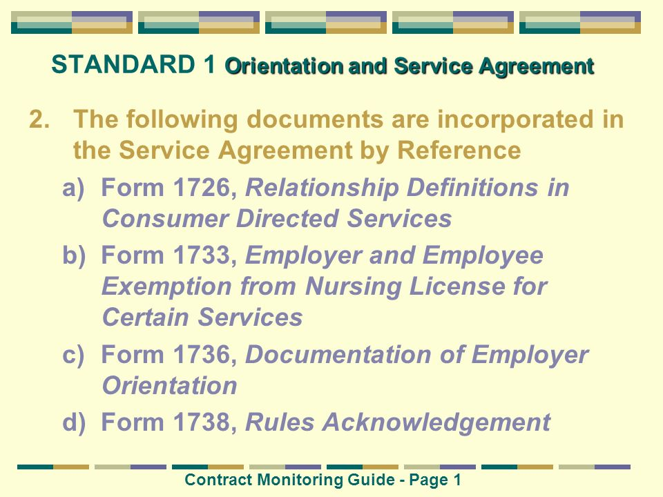STANDARD 1 Orientation and Service Agreement