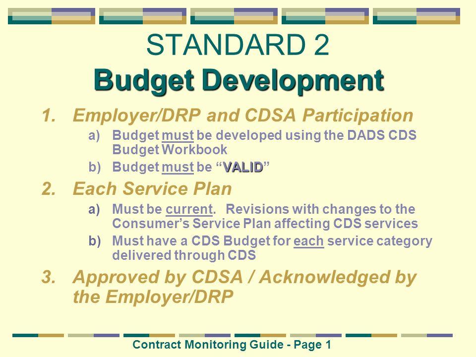 STANDARD 2 Budget Development