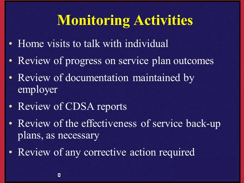 Monitoring Activities