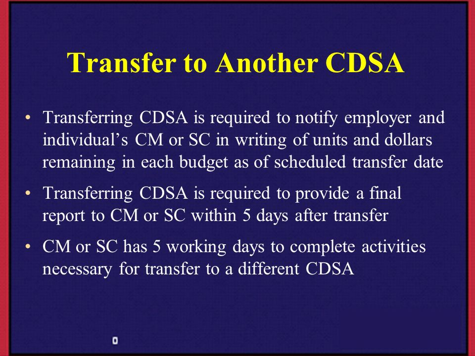 Transfer to Another CDSA
