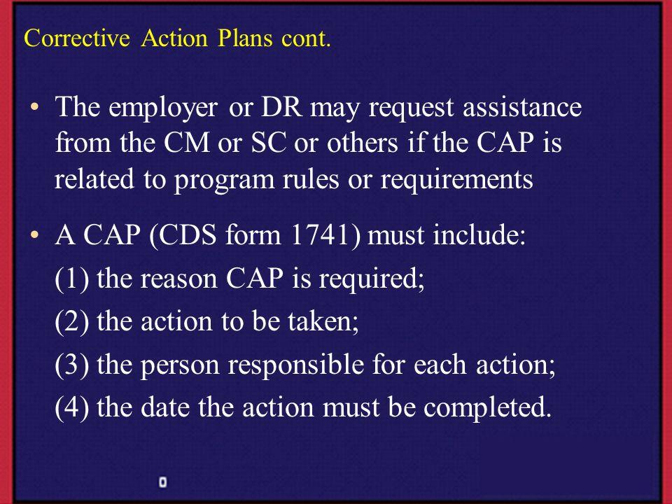 Corrective Action Plans cont.