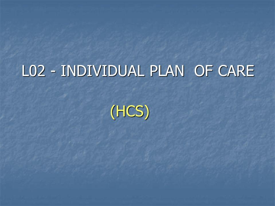 L02 - INDIVIDUAL PLAN OF CARE (HCS)