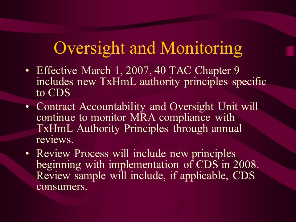Oversight and Monitoring