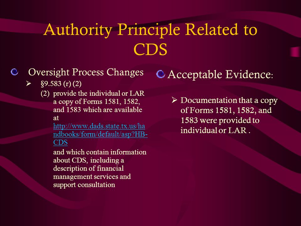 Authority Principle Related to CDS