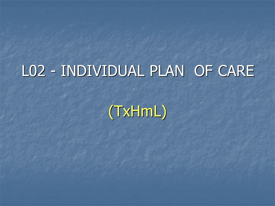 L02 - INDIVIDUAL PLAN OF CARE (TxHmL)