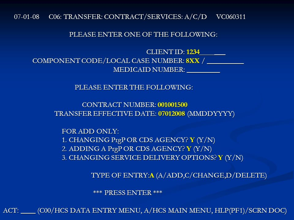 C06: TRANSFER: CONTRACT/SERVICES: A/C/D VC060311