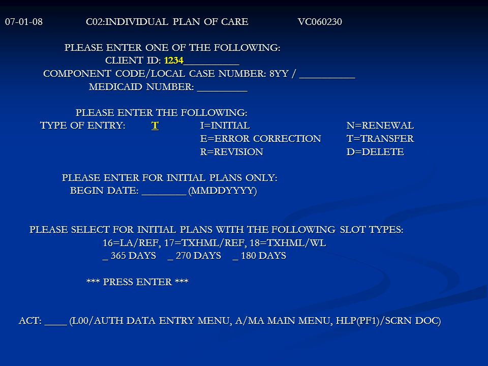 C02:INDIVIDUAL PLAN OF CARE VC060230