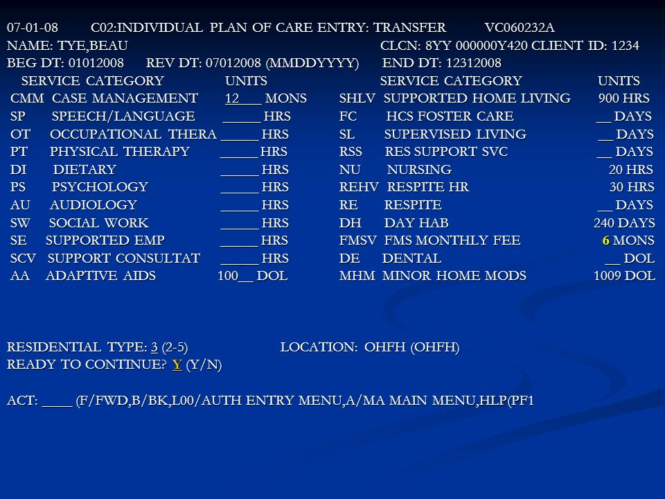 C02:INDIVIDUAL PLAN OF CARE ENTRY: TRANSFER VC060232A