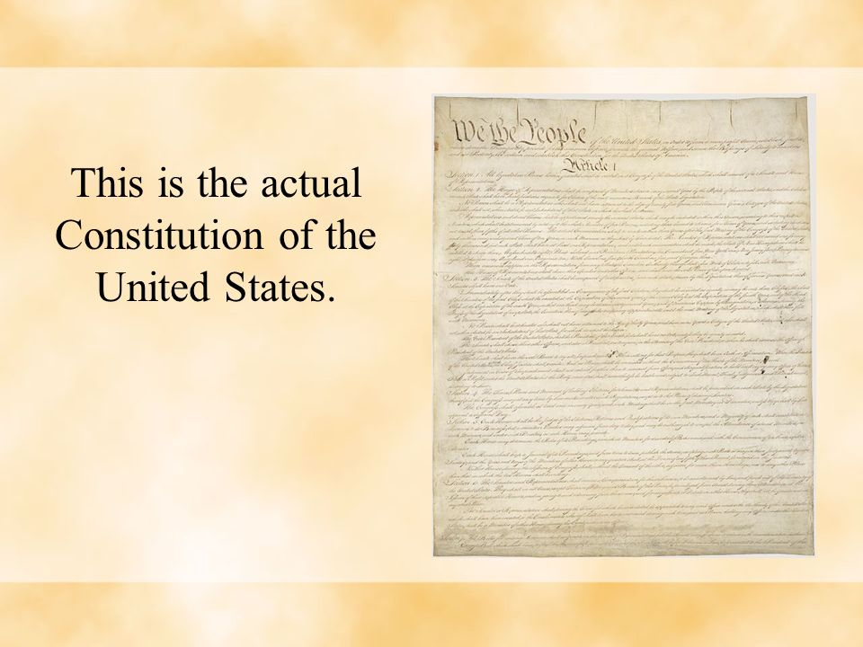 This is the actual Constitution of the United States.