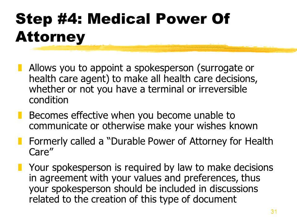 Step #4: Medical Power Of Attorney