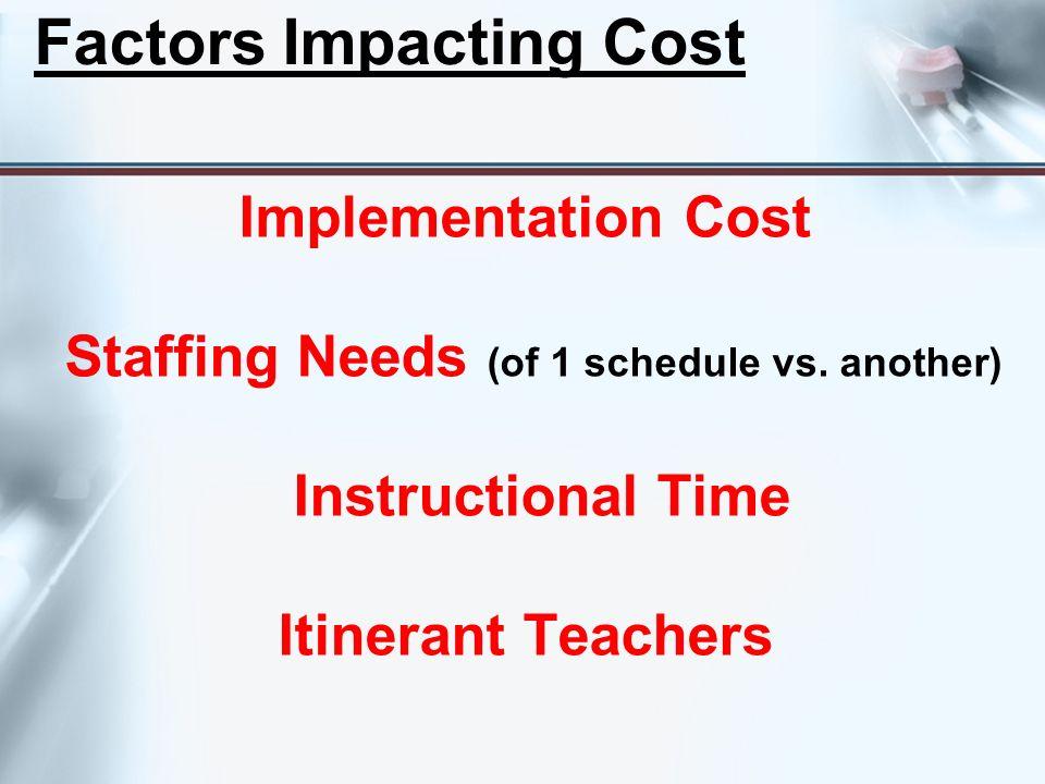 Factors Impacting Cost