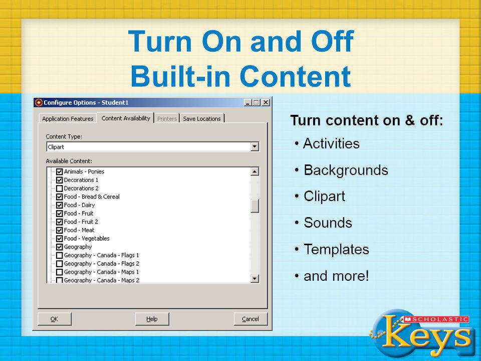 Turn On and Off Built-in Content