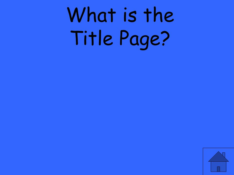 What is the Title Page