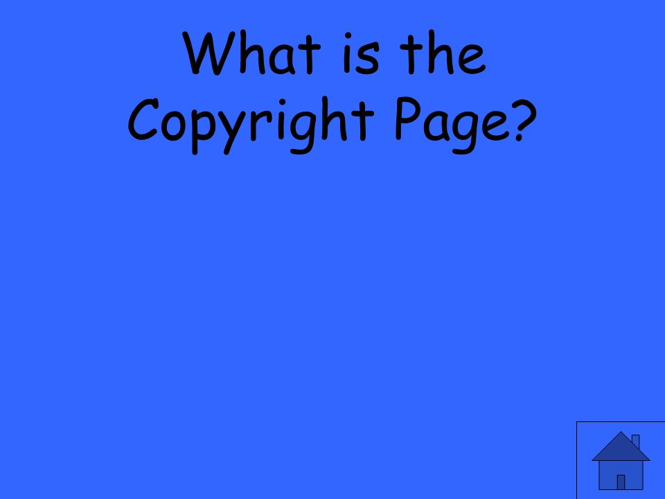 What is the Copyright Page