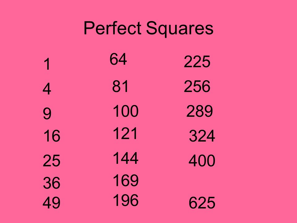 Perfect Squares 64 225 1 81 256 4 100 289 9 121 16 324 144 25 400 169 36 196 49 625