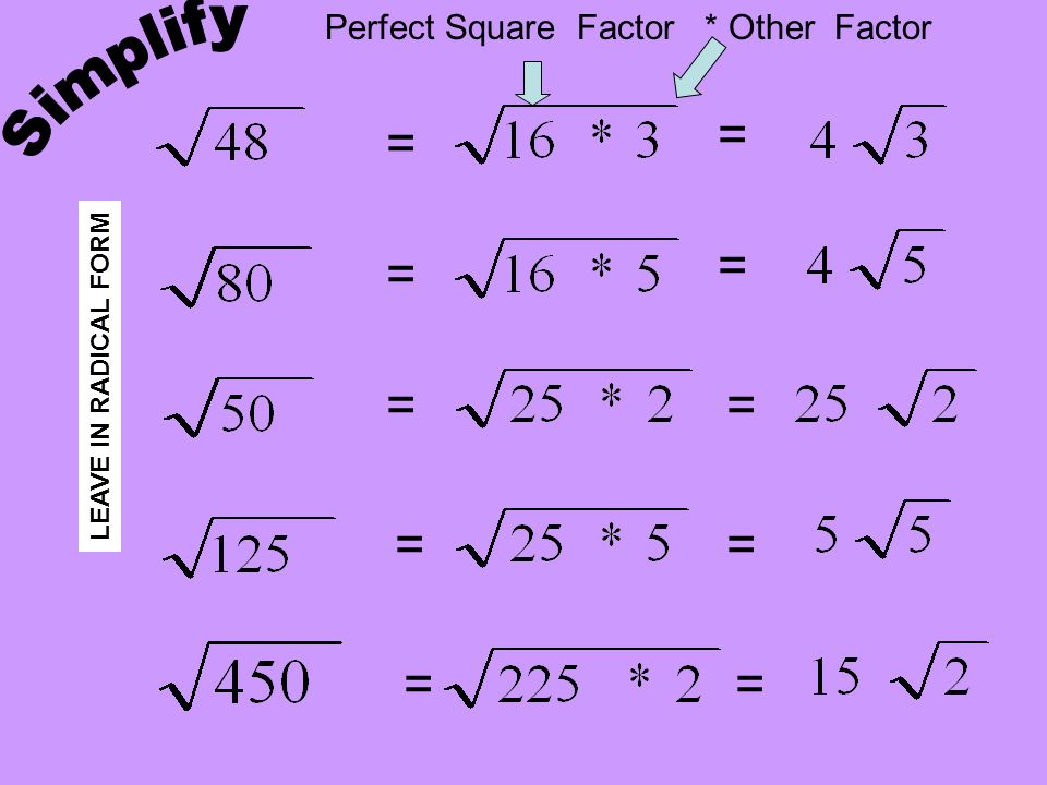 Simplify = = = = = = = = = = Perfect Square Factor * Other Factor