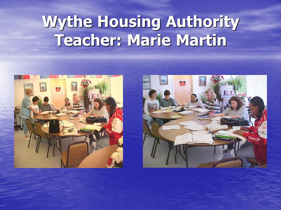 Wythe Housing Authority Teacher: Marie Martin