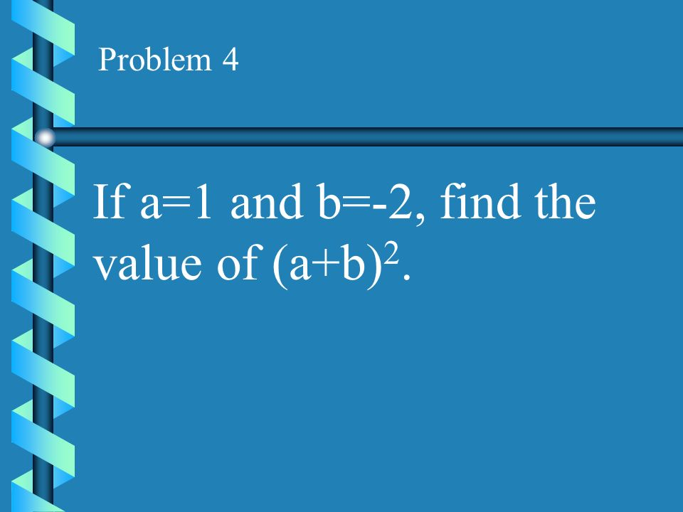 If a=1 and b=-2, find the value of (a+b)2.