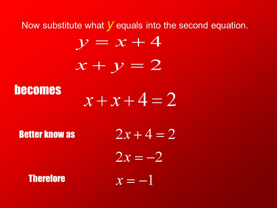 Now substitute what y equals into the second equation.