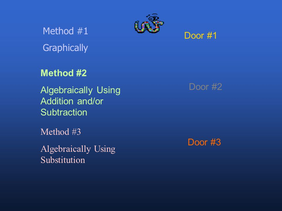 Method #1 Graphically. Door #1. Method #2. Algebraically Using Addition and/or Subtraction. Door #2.