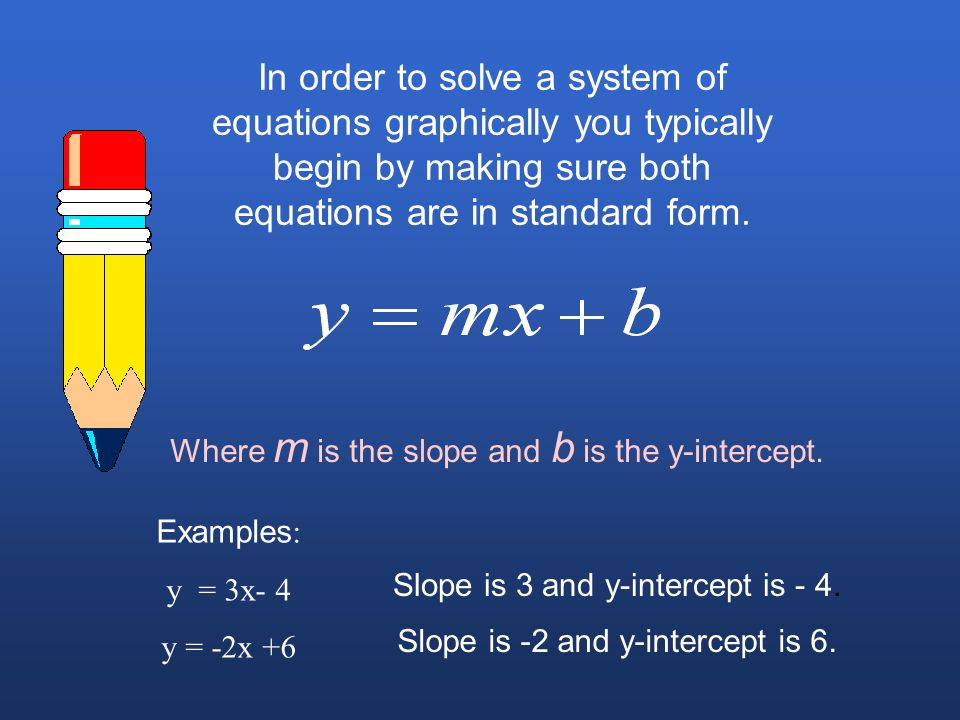 In order to solve a system of equations graphically you typically begin by making sure both equations are in standard form.
