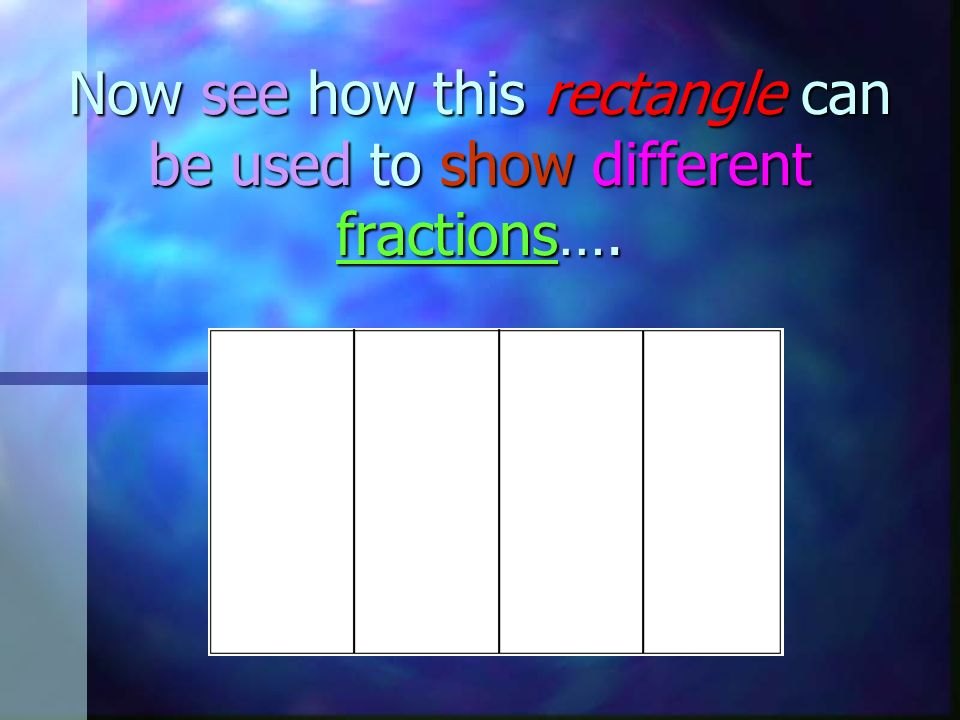 Now see how this rectangle can be used to show different fractions….