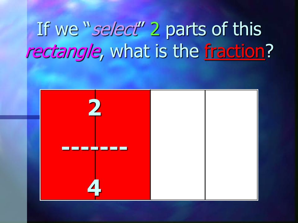 If we select 2 parts of this rectangle, what is the fraction