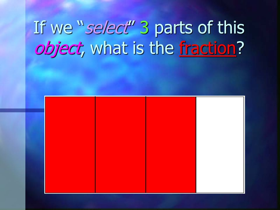 If we select 3 parts of this object, what is the fraction