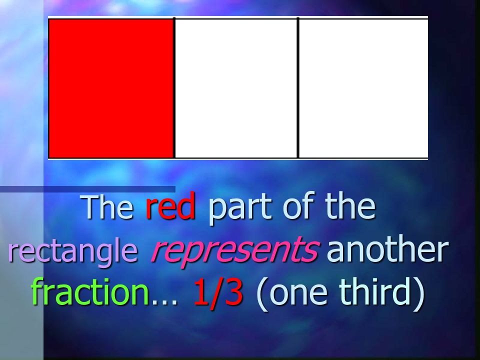 The red part of the rectangle represents another fraction… 1/3 (one third)
