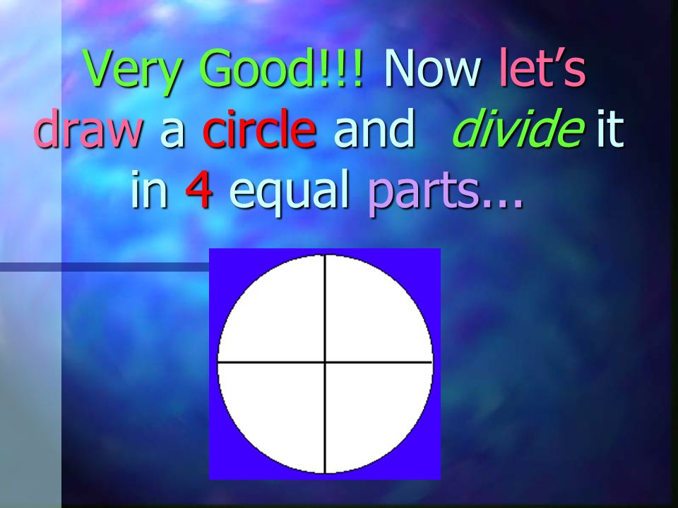 Very Good!!! Now let's draw a circle and divide it in 4 equal parts...