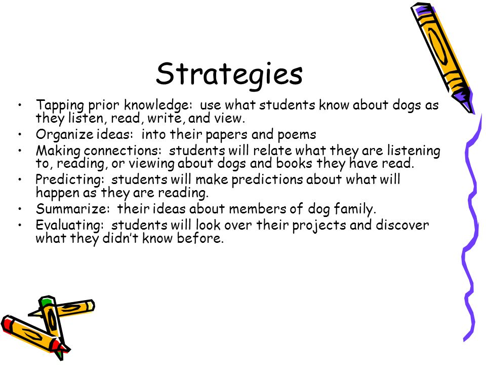 Strategies Tapping prior knowledge: use what students know about dogs as they listen, read, write, and view.
