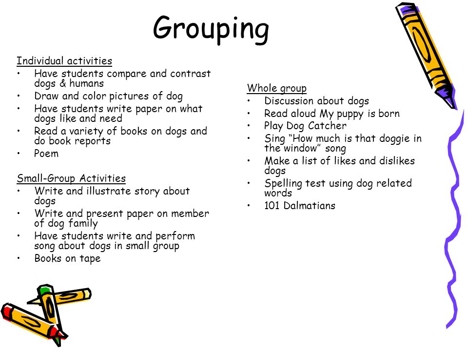 Grouping Individual activities