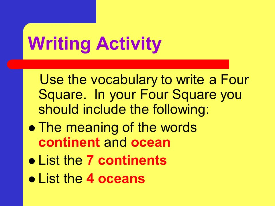 Writing Activity Use the vocabulary to write a Four Square. In your Four Square you should include the following: