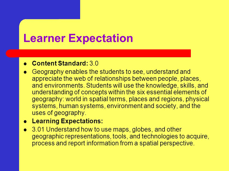Learner Expectation Content Standard: 3.0