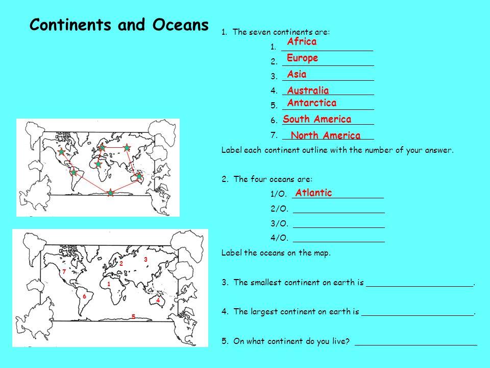 Continents and Oceans Africa Europe Asia Australia Antarctica
