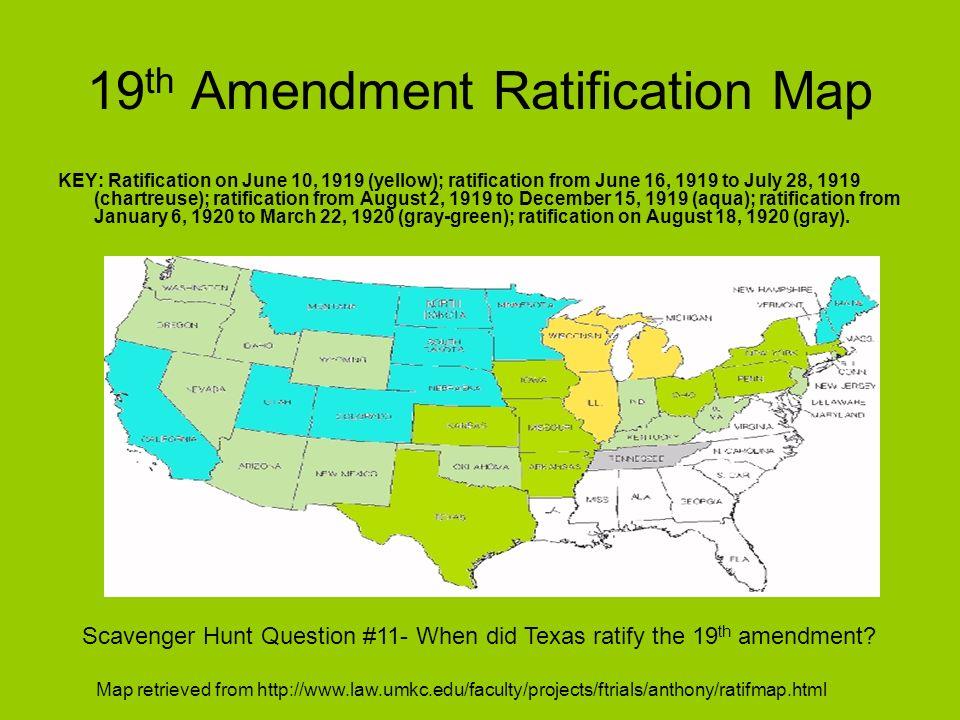 19th Amendment Ratification Map