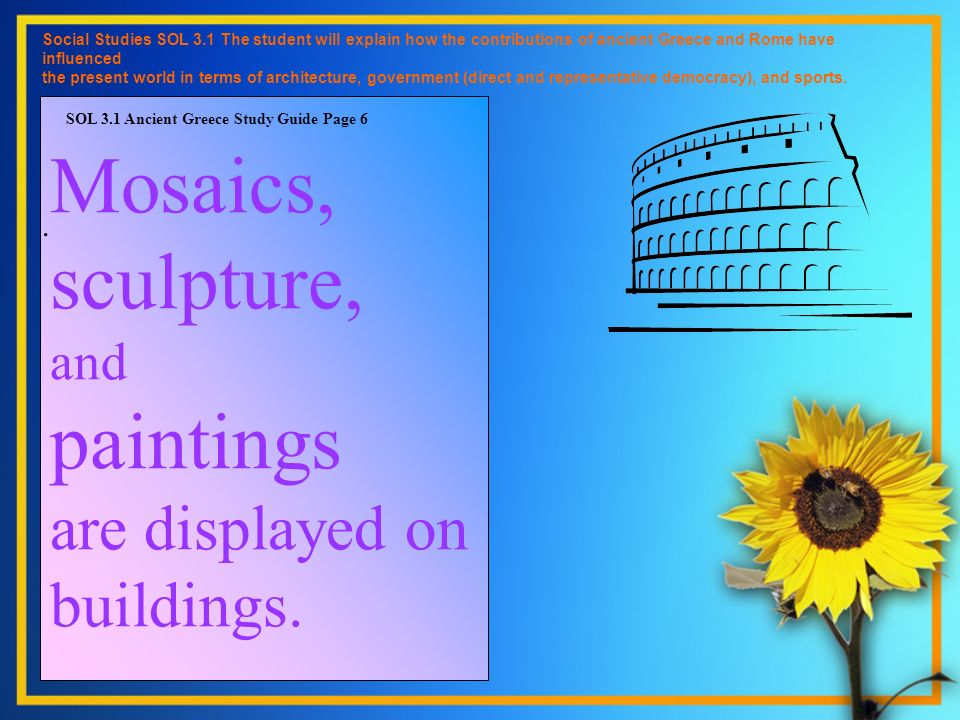 Mosaics, sculpture, and paintings are displayed on buildings.