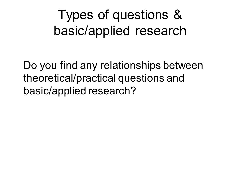 applied research questions Psychology definition of applied research: research aimed toward answering a practical question, for example, a clinical question, rather than developing a theory or.