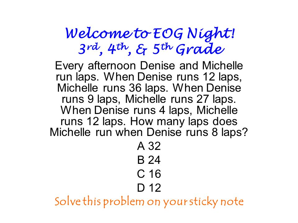 Welcome to EOG Night! 3rd, 4th, & 5th Grade