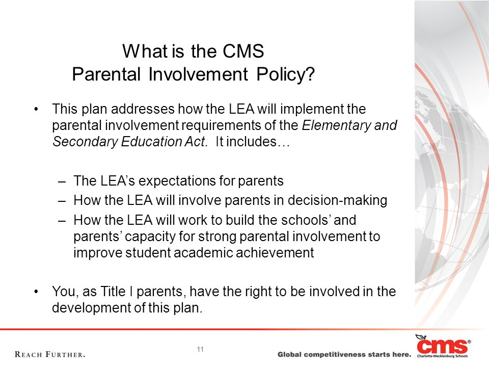 What is the CMS Parental Involvement Policy